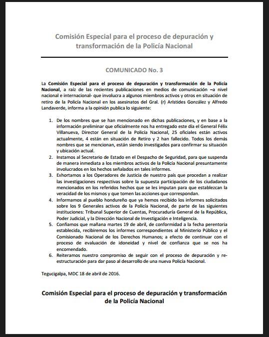 Tercer comunicado de la Comisión Especial para la Depuración Policial