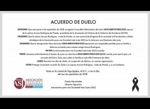 Acuerdo de duelo por fallecimiento de Carlos Humberto Pineda Escoto