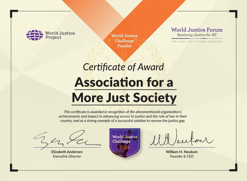reconocimiento ASJ World Justice Challenge 2019