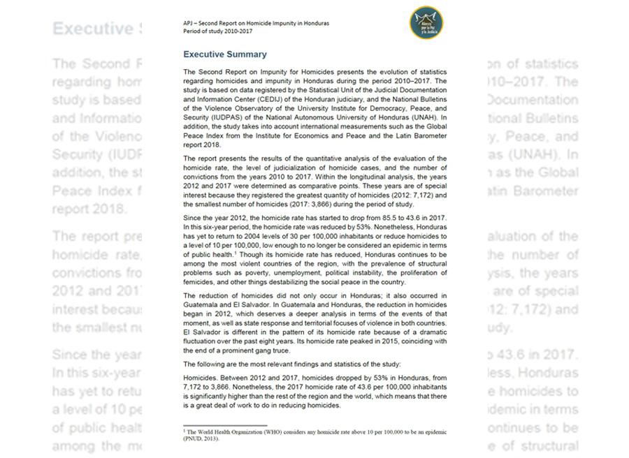 report homicide impunity honduras