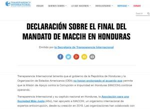 Declaración de Transparencia Internacional y ASJ sobre el final del mandato de la MACCIH