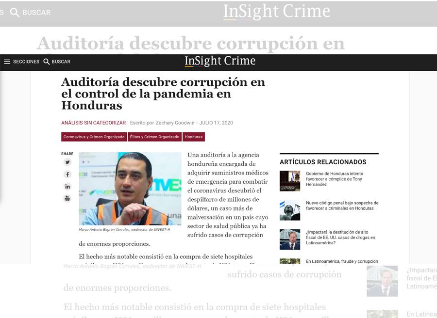 InSight Crime: Auditoría descubre corrupción en el control de la pandemia en Honduras