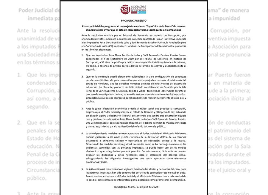 """Poder Judicial debe programar el nuevo juicio en el caso """"Caja Chica de la Dama"""" de manera inmediata"""